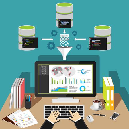 비즈니스 인텔리전스 분석 대시 보드. 데이터 수집. 일러스트