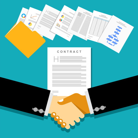 contracts: Business partnership meeting with document contracts or agreements.