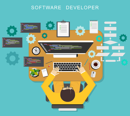 programmer: Software developer concept. Programmer coding on desktop.