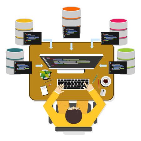 Database programmer or database administrator working concept.