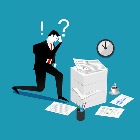 mess: Confuse and busy businessman with a lot of work to do. Stress situation concept. Illustration