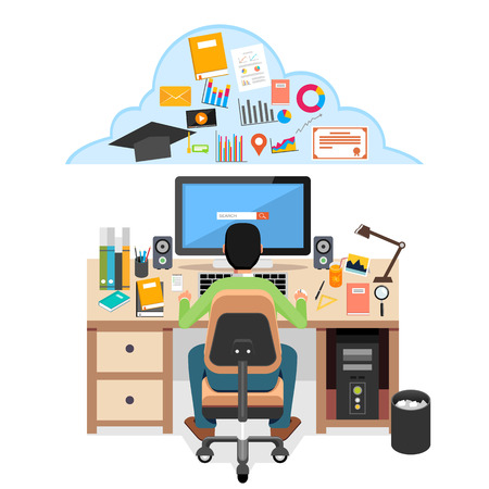 estudiando: Estudiante en busca de material educativo en Internet. Estudiante que estudia en su escritorio con el ordenador. E-learning concepto de ilustración.