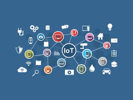 Internet věcí. síť Internet věcí. Internetové připojení koncepce. Ilustrace
