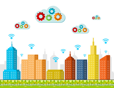 cloud computing services: Cloud computing services. Smart city concept.