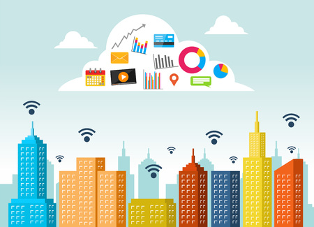 Cloud service concept. Cloud computing technology. Internet of things cloud with apps.