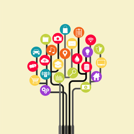 computer network: Growth tree technology. Abstract technology background with lines, circles and icons. Illustration