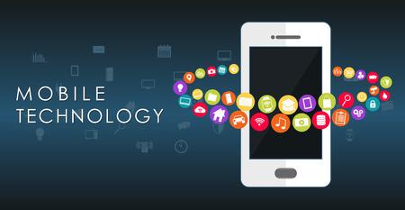Fondo abstracto de la tecnología móvil.