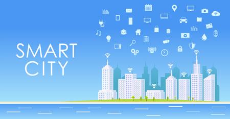 Cidade inteligente. paisagem urbana. Ilustración de vector