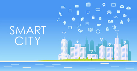 Smart City. Miejski krajobraz. Ilustracje wektorowe