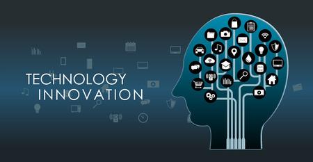 人間の脳。技術革新。人工知能