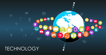 things: World technology abstract background.