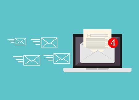 Inkomende e-mail. Het ontvangen van berichten. Nieuwe e-mail te ontvangen. Inbox bericht. Postvak IN e-mail.