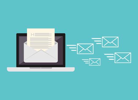 Sending messages. Sending email. Stock Illustratie