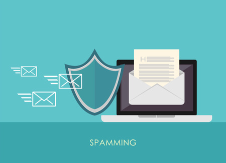 spamming: Spamming blocker. Email protection. Secure communication. Illustration