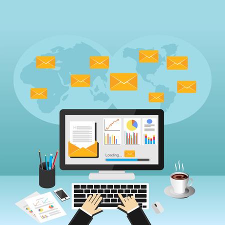 sending: Businessman sending or receiving email. Business email marketing. Email advertisement. Illustration