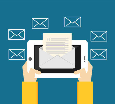 receiving: Reading inbox message. Sending and receiving messages from mobile phone or tablet.