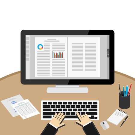 wort: Geschäftsmann, Computer benutzen, Am Schreibtisch. Textverarbeitungsanwendung. Illustration