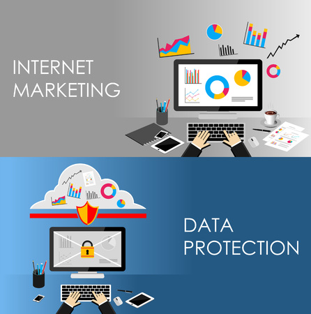 internet protection: Internet Marketing and Data Protection concept illustration.