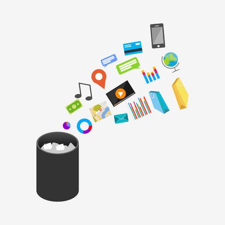 Corbeille Corbeille poubelle Illustration. Suppression d'un document ou d'un fichier