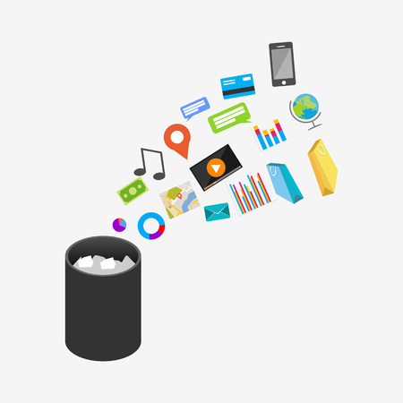 application recycle: Trash Recycle Bin Garbage Illustration. Deleting document or file.