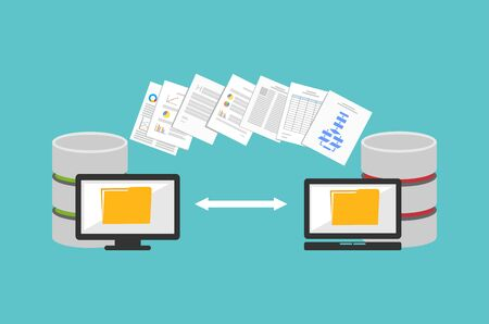 Transfer files. Sharing files. Backup files. Migration concept. Communication between two computers. 일러스트