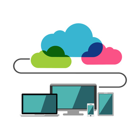 remote server: Cloud computing. Connect to internet.