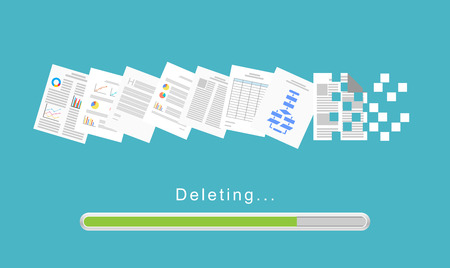 Delete files or delete documents process. Illustration