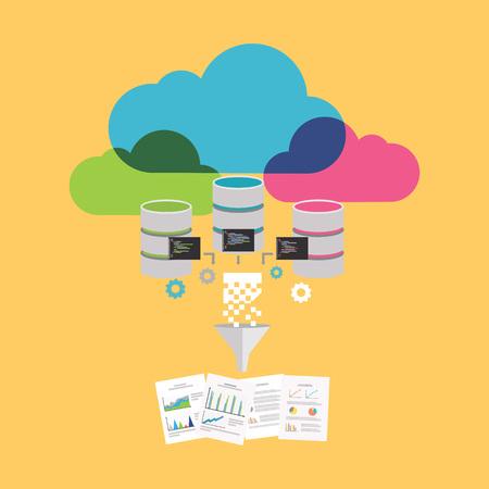 Big Data. Extract information Process. Data Mining Concept. Illustration