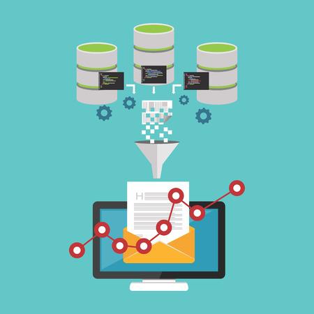 Finance Analyzing. Email promotion. Data mining concept. Illustration