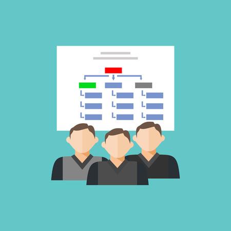 hierarchical: Department team diagram structure. Hierarchical-structure icon.
