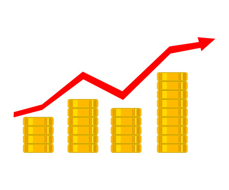 financial growth: Graph revenue growth and profits. Golden coins as bars rising on the graph. Financial growth concept.