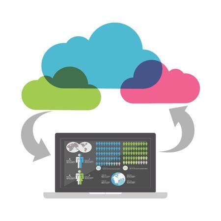 Cloud Business intelligence concept. Cloud computing process. Illustration