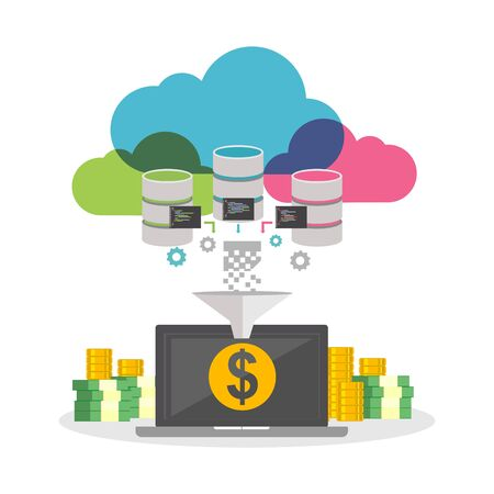 automatic: Online business. Financial technology. Automatic system. Earning money from internet concept.