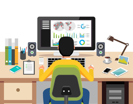 person computer: Person working on computer analyzing business growth. Monitoring E-commerce or business profit concept.
