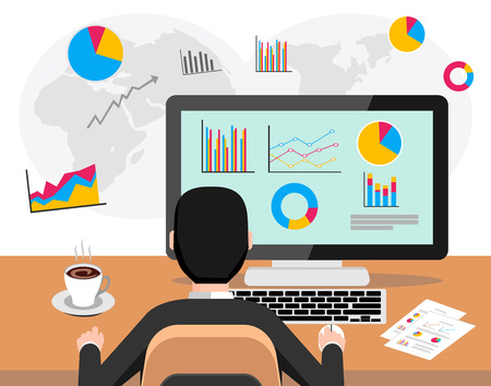 바탕 화면에 비즈니스 대시 보드에 분석 전문 비즈니스 사람. 비즈니스 분석가 개념. 웹 배너, 웹 사이트 요소, 브로셔, 또는 책 표지에 현대 평면 디자