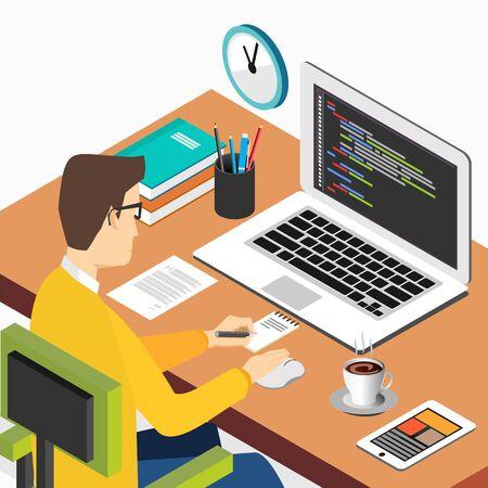 컴퓨터에서 작업하는 사람. 프로그래밍 또는 코딩 개념. 웹 배너, 웹 사이트 요소, 브로셔 또는 책 표지에 대 한 현대 아이소 메트릭 그림