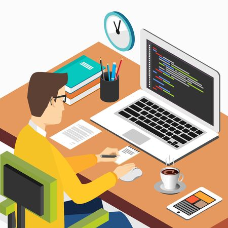 Person working on computer. Programming or coding concept. Modern isometric illustration for Web Banner , Website Element , Brochures, or Book cover