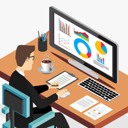 computer banner: Business person working on computer. Business analyst, business growth concept. Modern isometric illustration for Web Banner , Website Element , Brochures , or Book cover Illustration