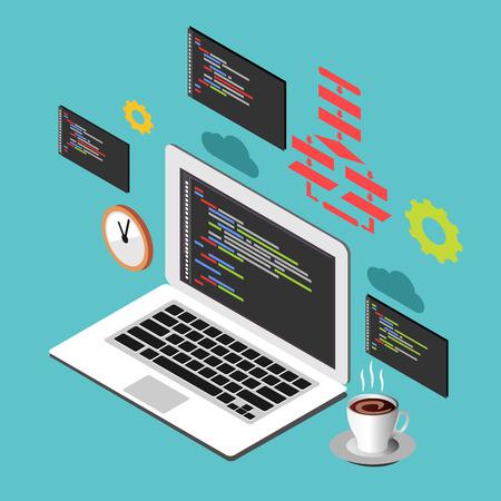 web element: Programming or coding concept. Modern isometric illustration for Web Banner , Website Element , Brochures, or Book cover