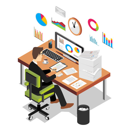 computer banner: Business person working on computer. Business analyst, business growth concept. Modern isometric illustration for Web Banner , Website Element , Brochures , or Book cover.