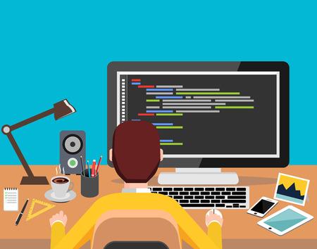 Persona que trabaja en el ordenador. Programación o el concepto de codificación. diseño moderno plano de la bandera del Web, elemento del Web site, folletos, o la cubierta del libro