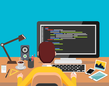 Person working on computer. Programming or coding concept. Modern flat design for Web Banner , Website Element , Brochures, or Book cover Illustration