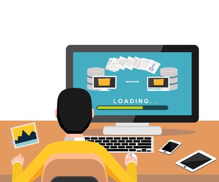 copying: Copying files or files transfer process on desktop. Modern flat design for Web Banner , Website Element , Brochures, or Book cover