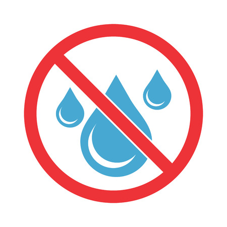 No water sign. Water drop forbidden. Illustration