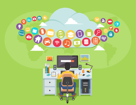 Surfing on the internet. Man accessing internet contents. Internet user. illustration for web banner, template, or inforgraphic Illustration