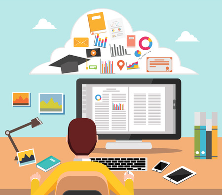 Student studying on computer  College supplies.  E-learning concept illustration for web banner, element, template, or infographics