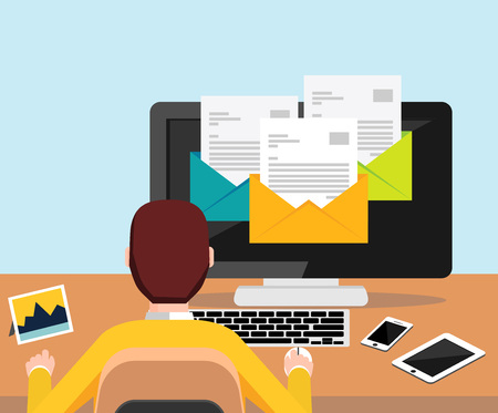 Person reading email on desktop illustration for web banner , web element , web template , or infographics