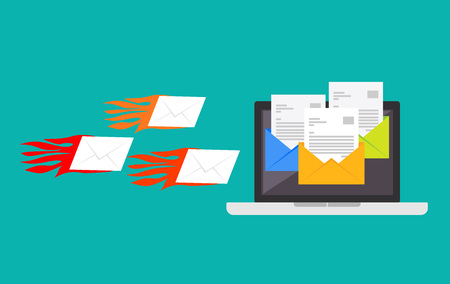 Spamming attack , Spam email , Receive many emails concept Illustration