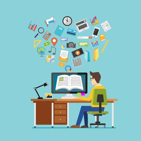 studying computer: Person studying on computer. E learning concept. Digital college supplies concept. Illustration
