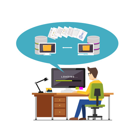 exchanging: Exchanging files. Copying files between devices. Backup files. Data migration concept. File management concept illustration for web banner, web element, or infographics element. Illustration